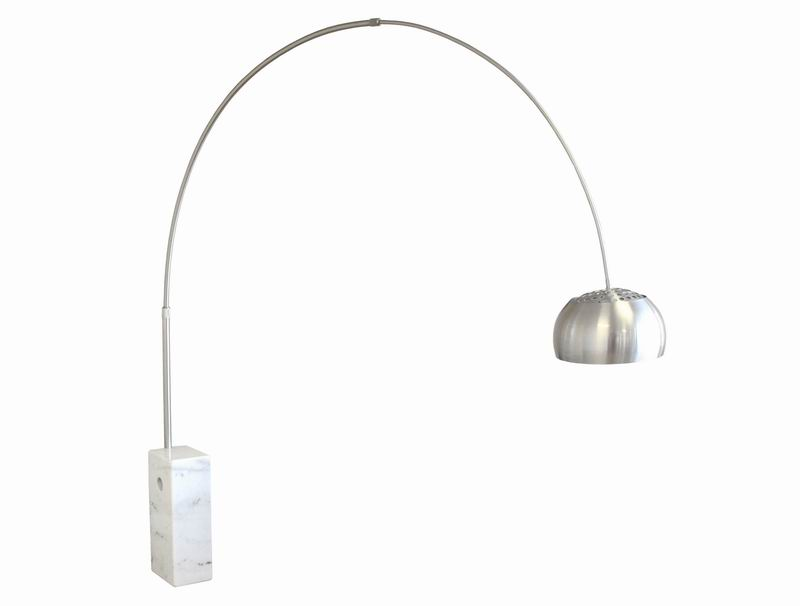 White Cube-Shaped Marble Base Arco Floor Lamp