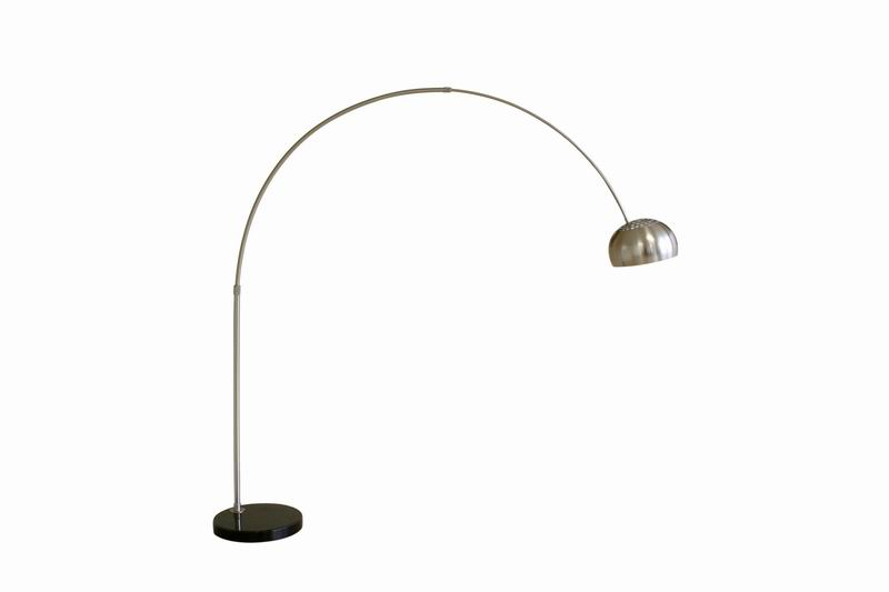 Arco Style Floor Lamp Black Round/Flat Marble Base