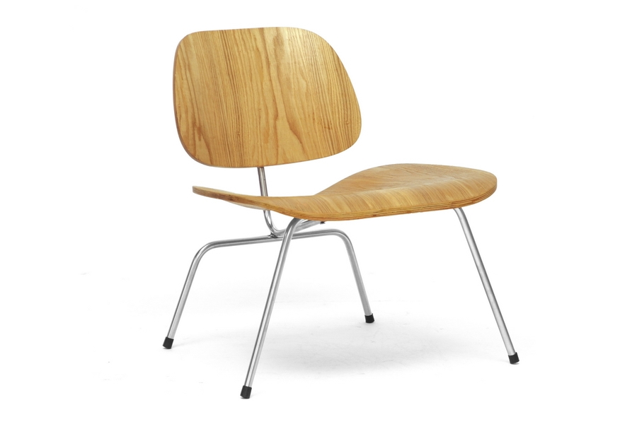 Mid-Century Modern Wooden Plywood Chair with Metal Legs