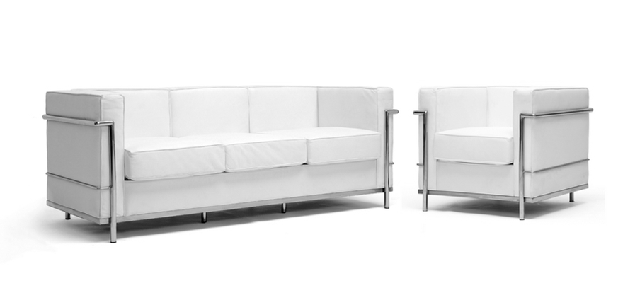 White Le Corbusier Petite Sofa and 1 chair