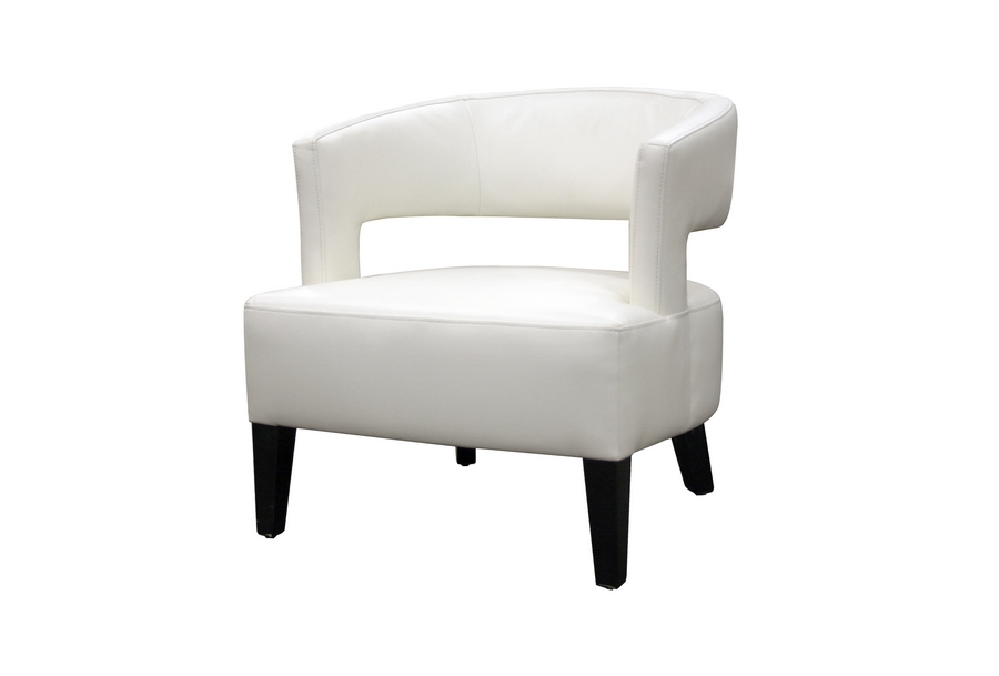 Lemoray Off-White Leather Modern Club Chair