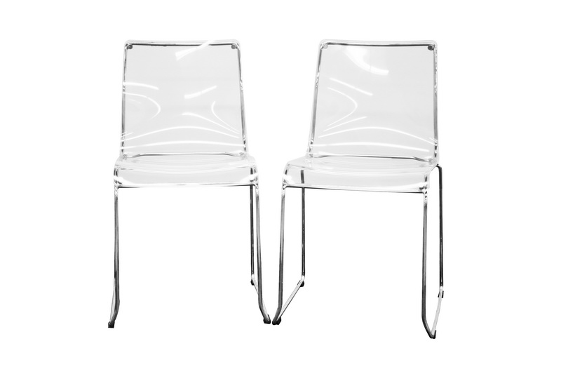 Lino Transparent Clear - Red  Acrylic Dining Chair (Set of 2)