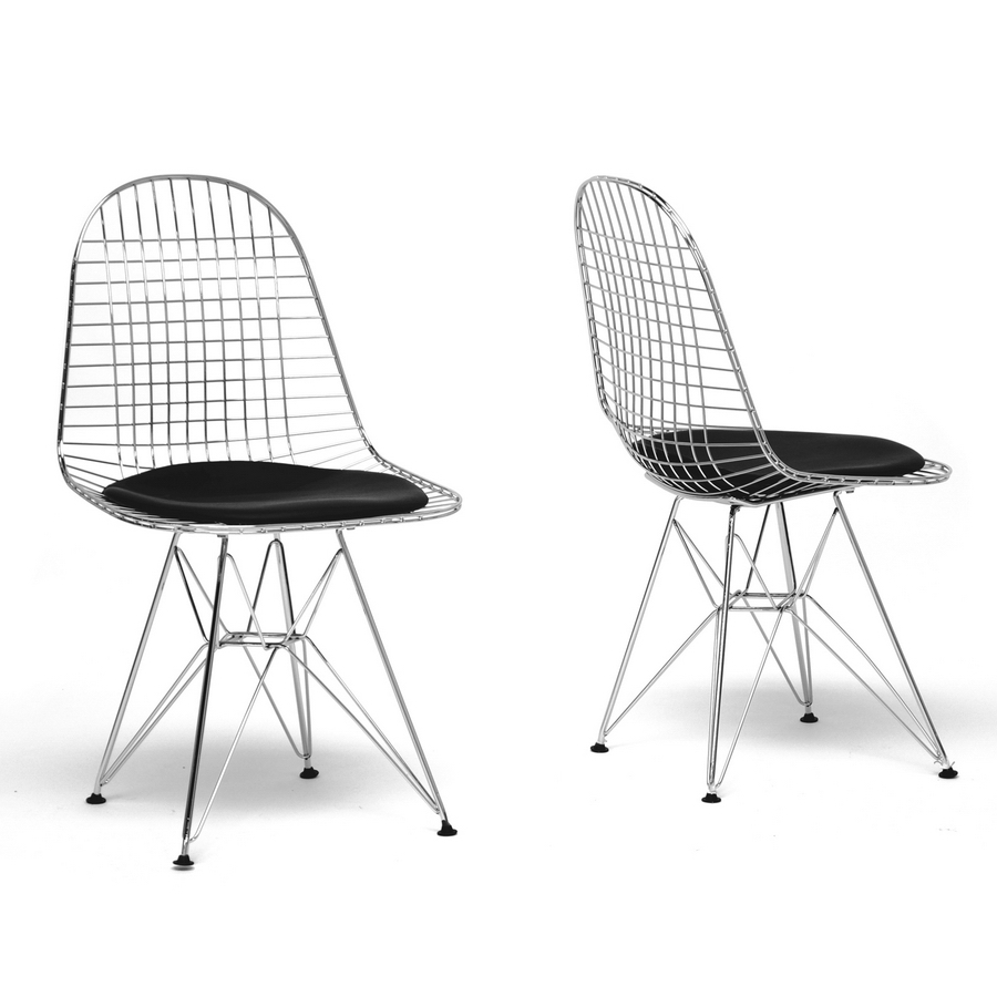 Avery Mid-Century Modern Wire Chair with Black Cushion (Set of 2)