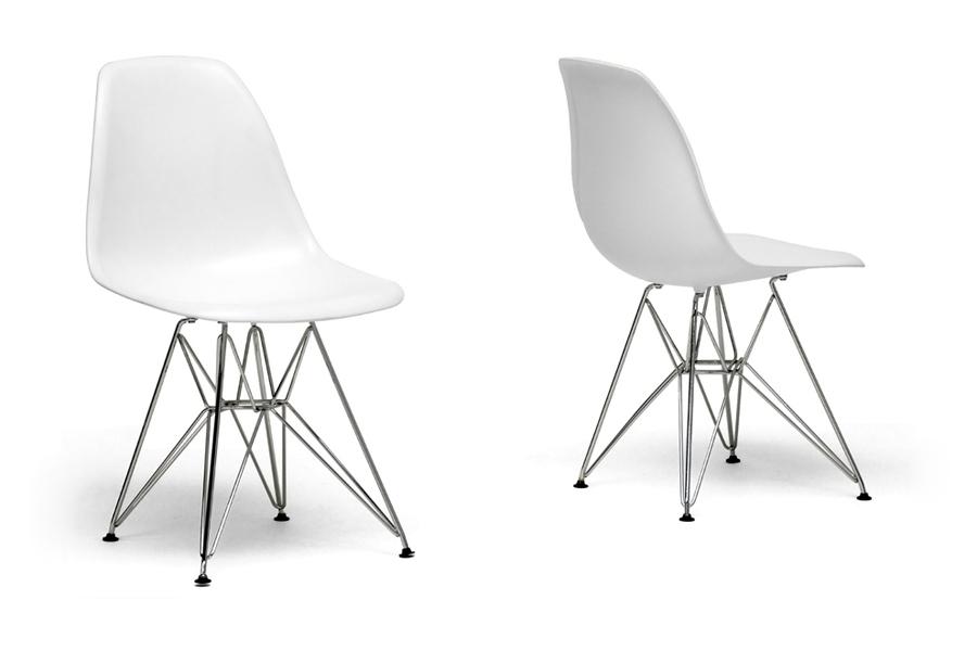 Plastic Side Chair Set of 2 White - Black
