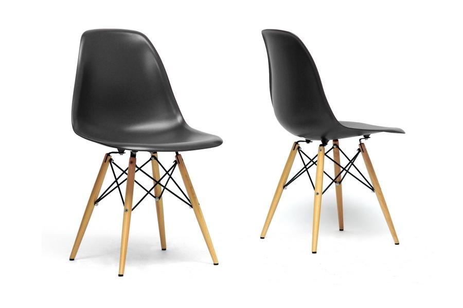 Azzo Black - Red Plastic Mid-Century Modern Shell Chair (Set of 2)
