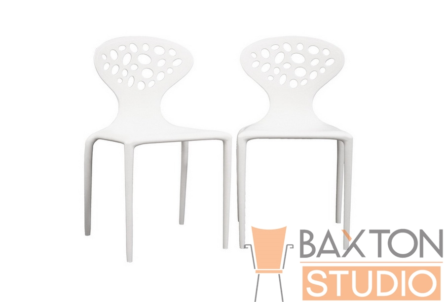 DURANTE White Plastic Molded Chair Set of 2