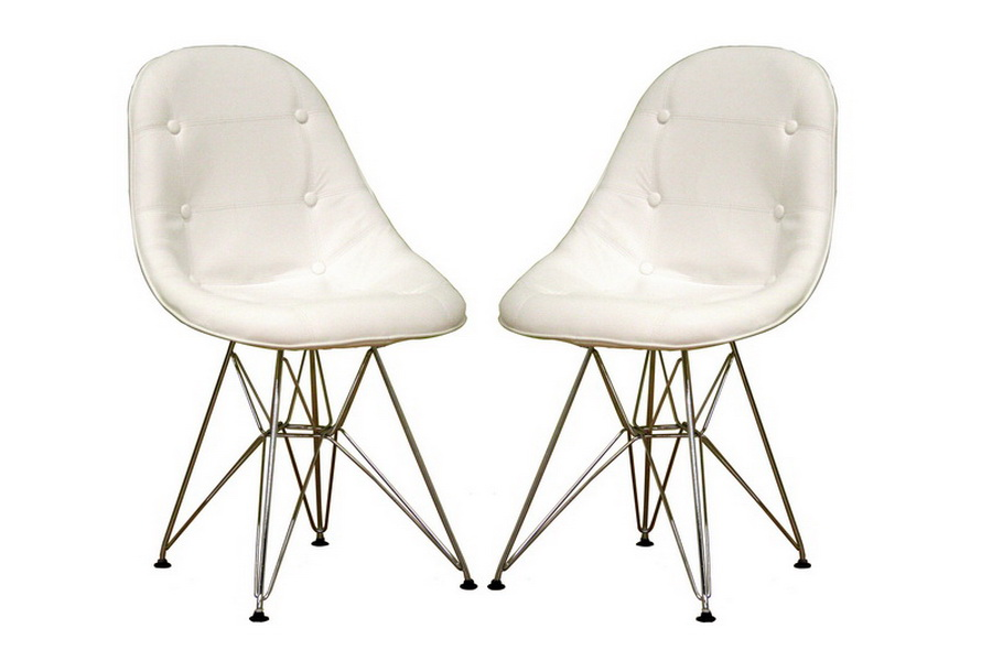 Ami Modern White Faux Leather Side Chair Set of Two