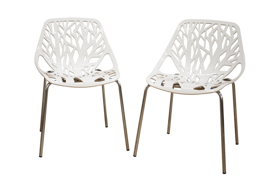 Birch Sapling White Plastic Accent / Dining Chair (Set of 2)