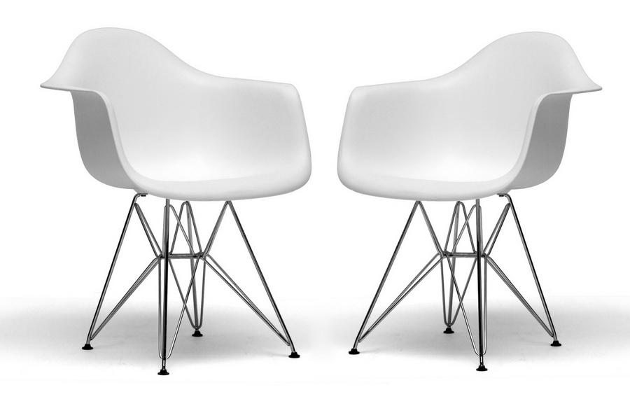 Dario White Molded Plastic Chair Set of 2
