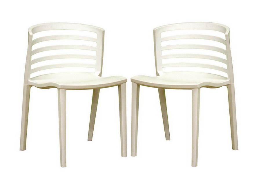Ofilia White Plastic Chair Set of Two