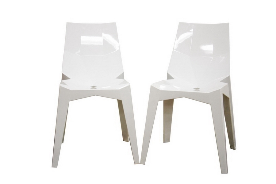 Spiccato Angular White Acrylic Accent Chair (Set of 2)