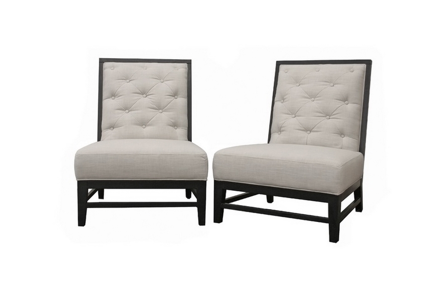 Bristol Tufted Gray Linen Modern Lounge Chair Set of 2