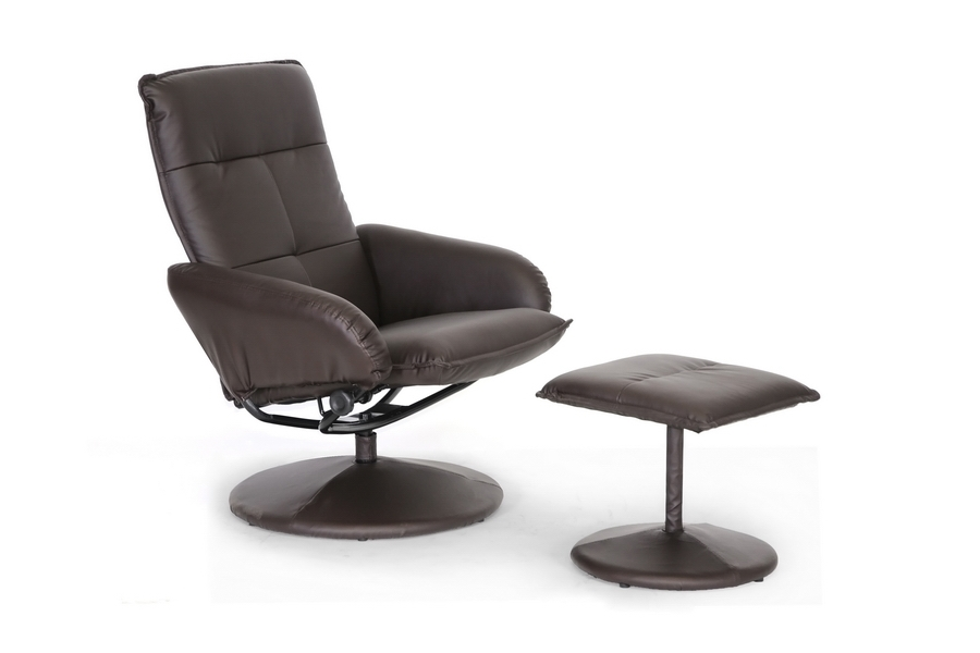 Cooper Brown Modern Recliner with Ottoman