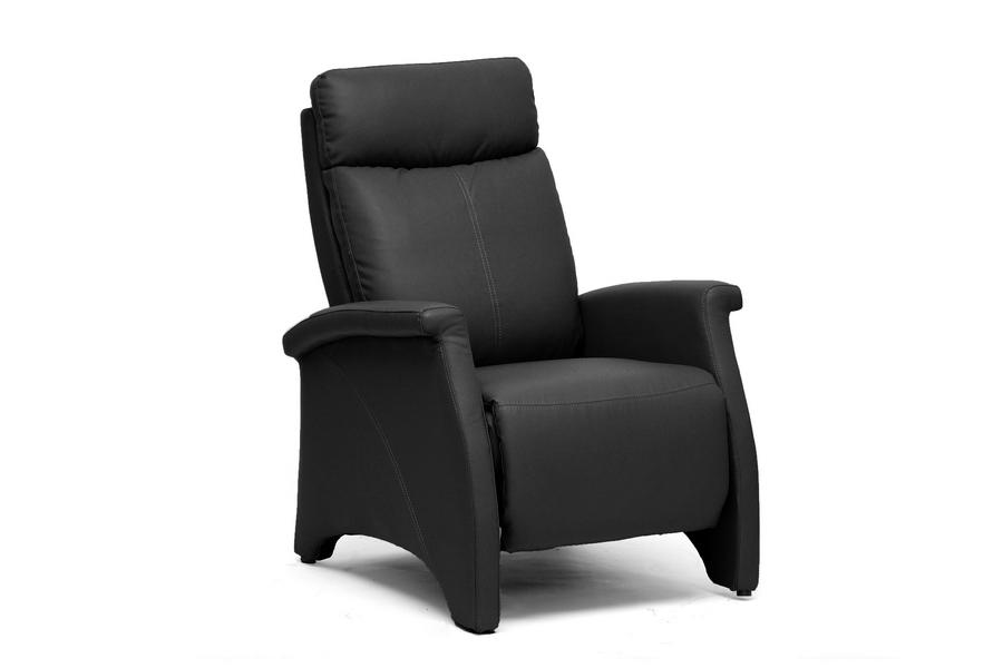 Sequim Black - Tan Modern Recliner Club Chair