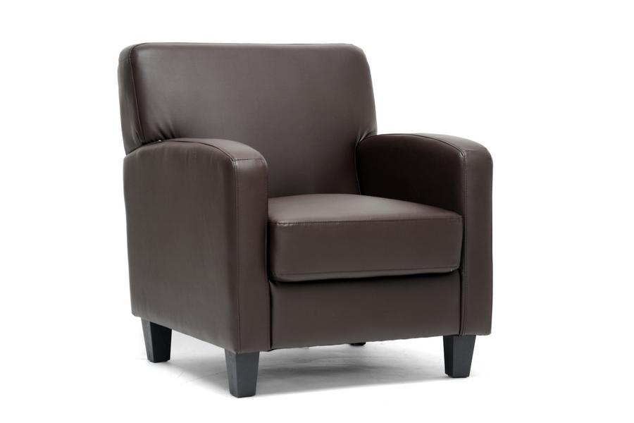 Stacie Brown Leather Modern Club Chair