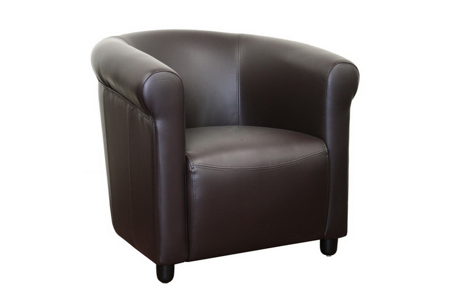 Lucille Curved Brown Leather Curved Club Chair
