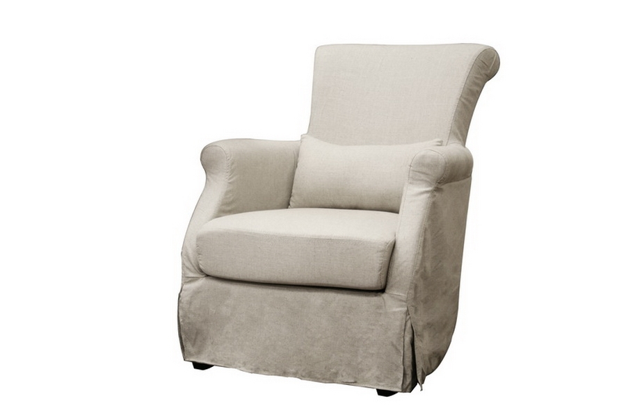 Slipcovers For Club Chairs And Ottomans: CALISTA Modern BEIGE Linen Slipcover CLUB Chair