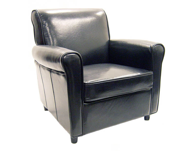 Black - Brown Full Leather Club Chair