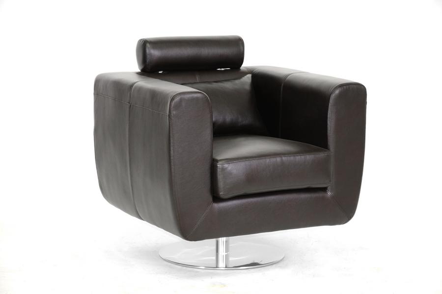 Swivel-Action Dark Brown Club Chair