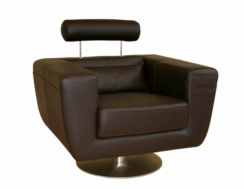 Tad leather modern club chair swivel action dark brown ebay for Swivel club chair leather