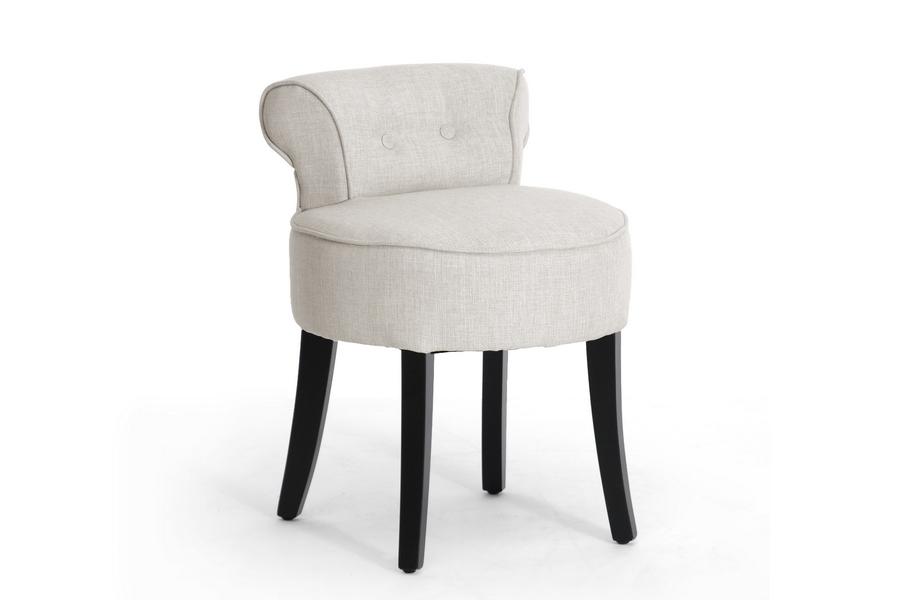 Millani Beige Linen Modern Lounge Stool