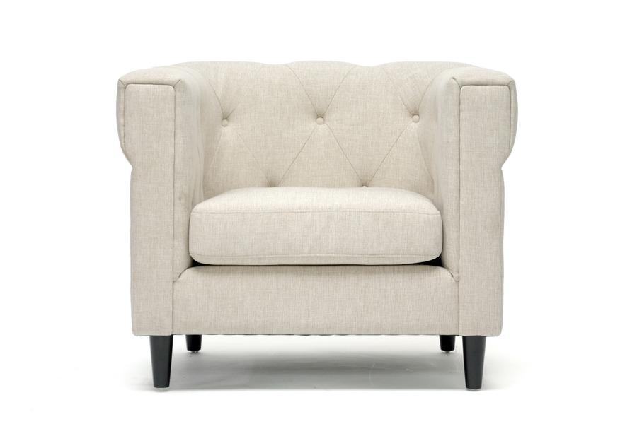 Cortland Beige Linen Modern Chesterfield Chair