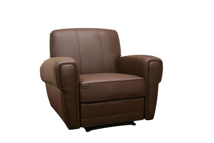 Smithson Dark Brown Faux Leather Modern Recliner
