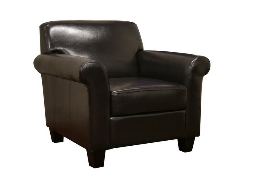 Atticus Black-Brown Faux Leather Modern Club Chair