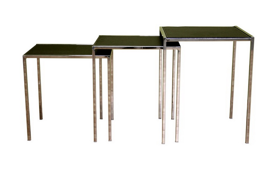 Deo Black Leather Nesting Table