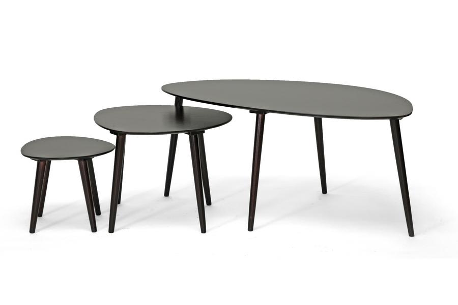 Metis Dark Brown 3-Piece Modern Nesting Table Set