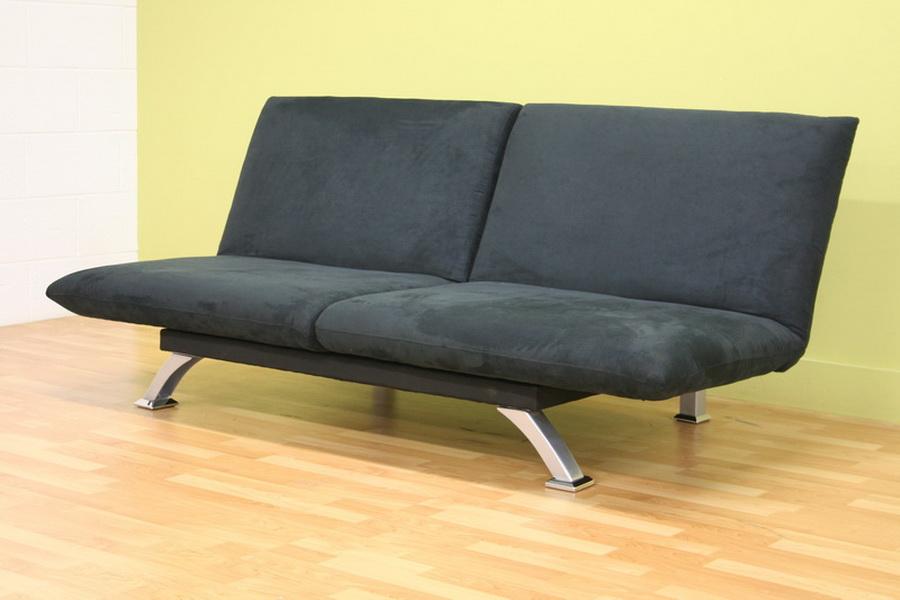 Modern Dysthe Microfiber Convertible Sofa Bed Black