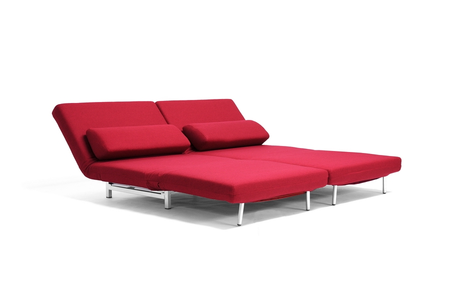 ROOM VAULT Red Fabric 2 Seat Sofa Chair Convertible Set