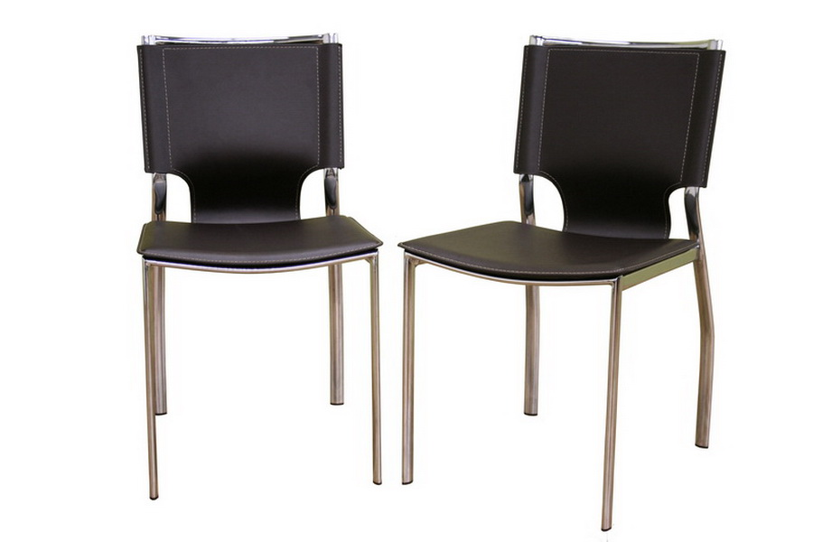 Dark Brown Leather Dining Chair with Chrome Frame Set of 2