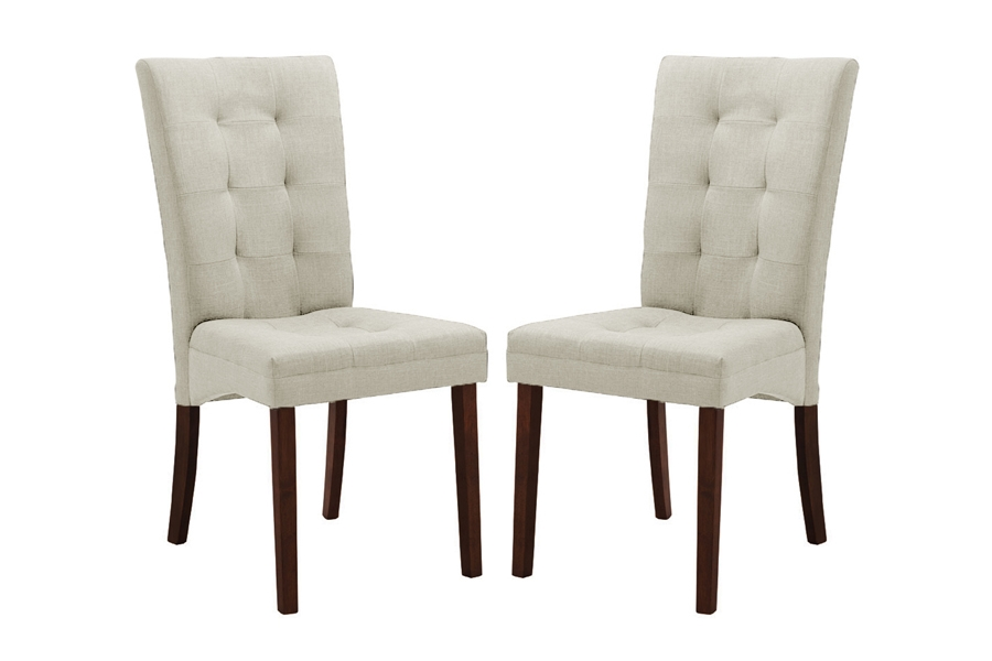 anne beige fabric modern dining chair set of 2