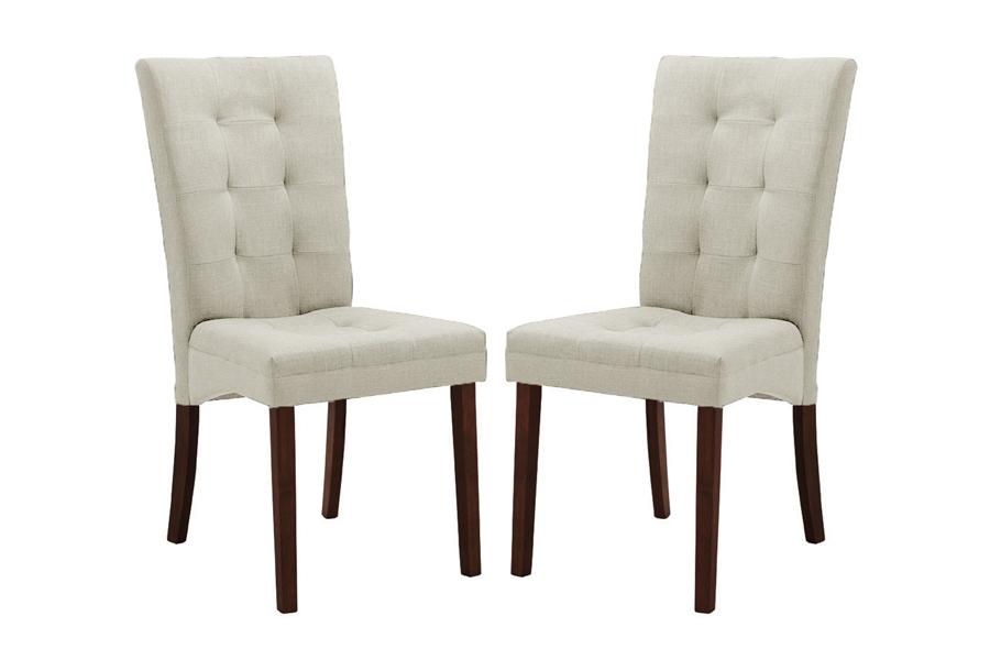 beige fabric modern dining chair set of 2