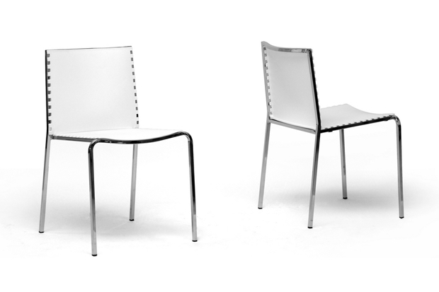 Gridley White Plastic Modern Dining Chair Set Of 2