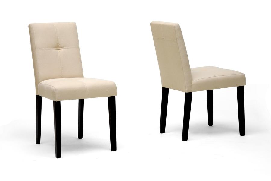 elsa beige fabric modern dining chair set of 2