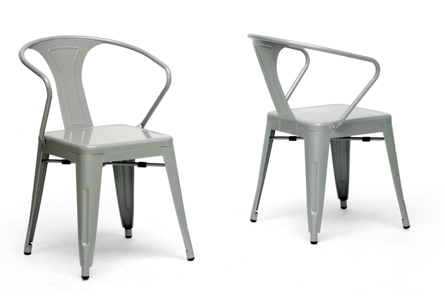 French Industrial Modern Dining Chair in Gray (Set of 2)