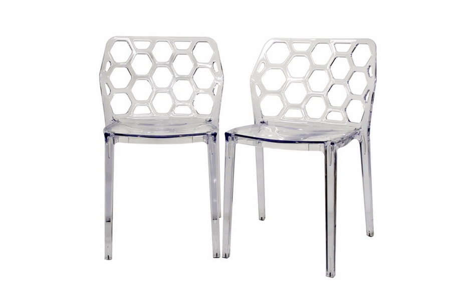 Honeycomb Clear - Red Acrylic Modern Dining Chair (Set of 2)