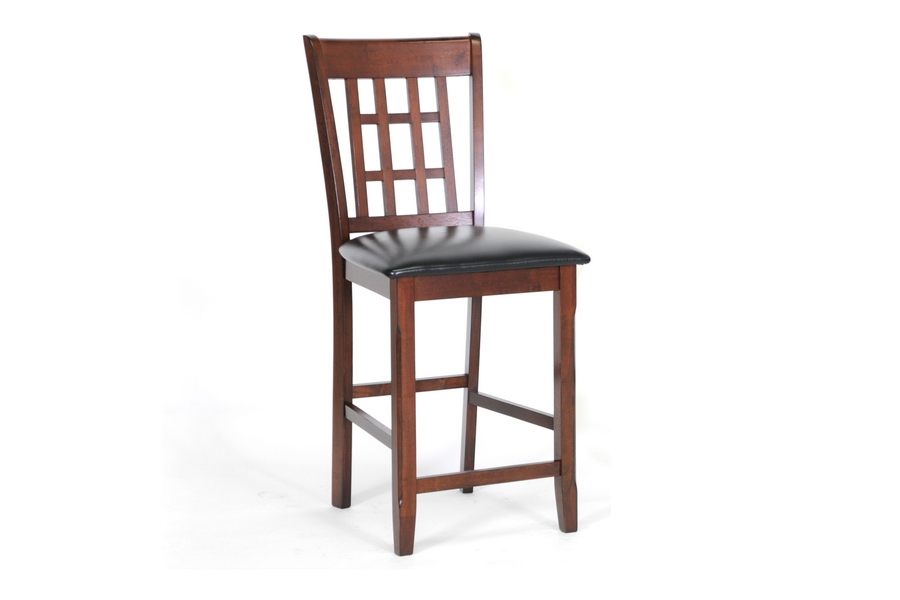 Counter Stool Modern Amber Brown Wood - Set of 2