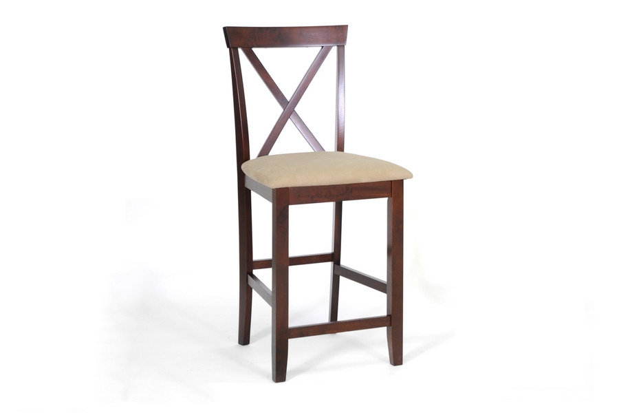 Counter Stool Natalie Modern Brown Wood - Set of 2