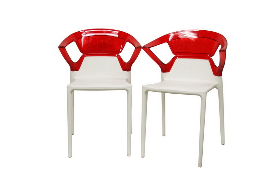 Swap White Plastic Modern Dining Chair (Set of 2)