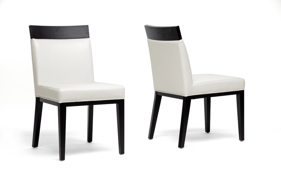 Clymene Black Wood and Cream Leather Modern Dining Chair (Set of 2)