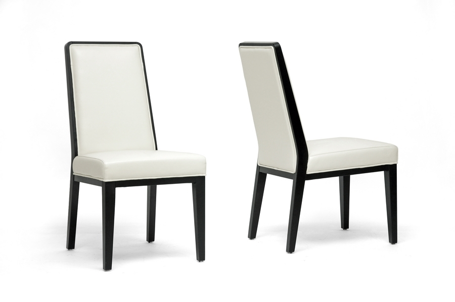 Theia Black Wood and Cream Leather Modern Dining Chair (Set of 2)