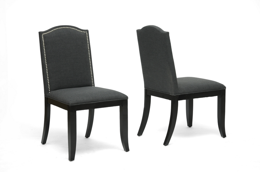 Baudette Gray Fabric Modern Dining Chair (Set of 2)
