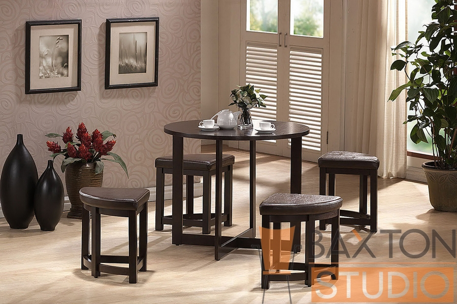 Table Set Rochester with Nesting Stools Brown