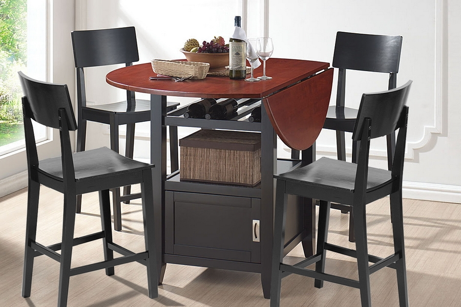 designer studio dayton modern drop leaf pub table dining set. Black Bedroom Furniture Sets. Home Design Ideas
