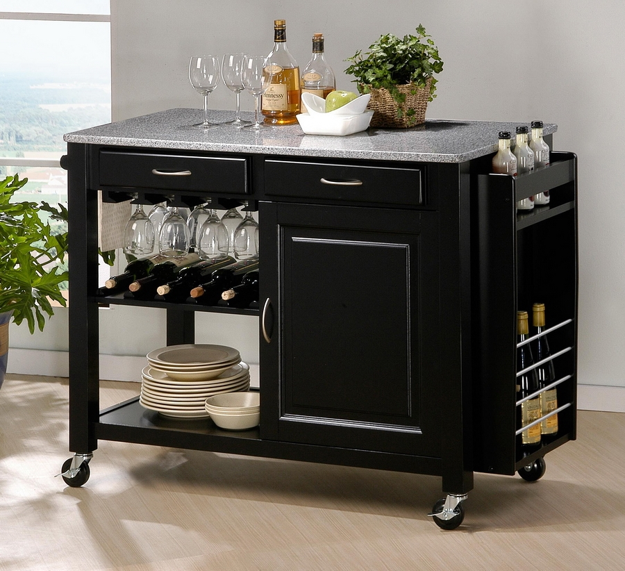 modern kitchen island cart with granite top in black by baxton,