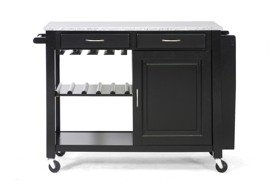 Phoenix Black Modern Kitchen Island with Granite Top