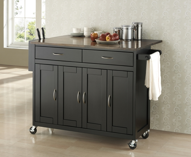 Room Vault Black Wood Modern Kitchen Cart